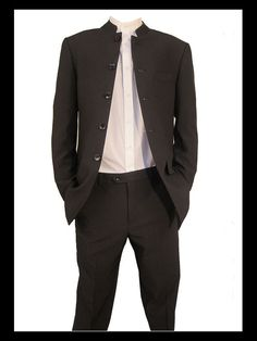 Suit - Nehru: these suits can be tricky so proceed with care. They tend to sit long and with the mandarin collar, you will need an appropriate shirt but when put together, they look quite handsome.