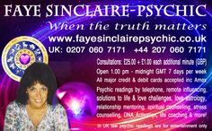 Faye Sinclaire Psychic Medium http://www.fayesinclairepsychic.co.uk/ When the truth matters Phenomenally uncanny accurate psychic medium