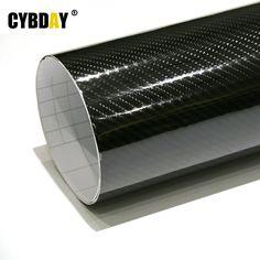 カースタイリング152センチ* 30センチ高光沢5d黒炭素繊維ビニールフィルムカーボンファイバーカーラップシートロールフィルムツール車のステッカーデカール