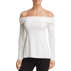 Bardot Ella Open-Back Off-the-Shoulder Top ($94) ❤ liked on Polyvore featuring tops, ivory, white tops, off shoulder tops, white off shoulder top, off the shoulder tops and ivory top