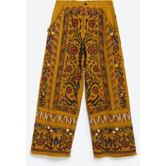 Zara Embroidered Trousers ($129) ❤ liked on Polyvore featuring pants, mustard, lined pants, yellow pants, zara trousers, zara pants and embroidered pants