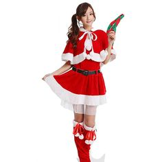 Cute wraped Miss Santa Clause Costume Girl Christmas Costume ($28) ❤ liked on Polyvore featuring costumes, red, santa claus costume, santa suit, white costume, red costumes and womens halloween costumes