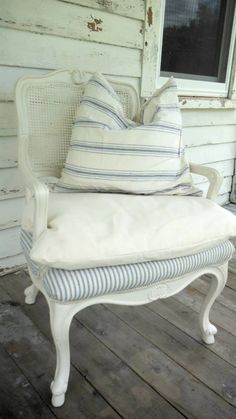 "Love the ""french cottage"" look of this chair. It looks so comfortable. I could do this or something similar with chair we inherited in the master."