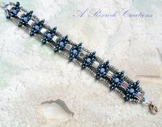 Unique Beaded Bracelet Blue and Silver Seed Bead Bracelet Women's Gift for Her Beadweave Bracelet Super Duo Bracelet Friendship Bracelet by ARexrodeCreations on Etsy