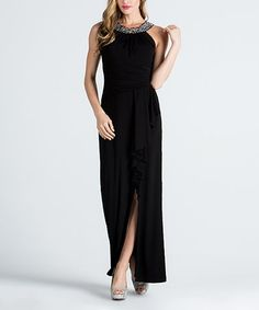 Look what I found on #zulily! Black Rhinestone-Detail Front-Slit Sleeveless Gown #zulilyfinds