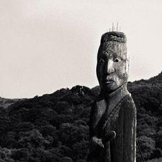 Ancient Maori tiki, 1500 AD, South Island of New Zealand.