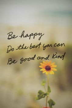 Be happy.  Do the best you can.  Be good and kind.