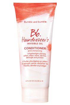 """Bumble and bumble Hairdresser's Invisible Oil Conditioner's blend of six oils """"seems to undo months of heat-tool damage with just one use.""""   - ELLE.com"""