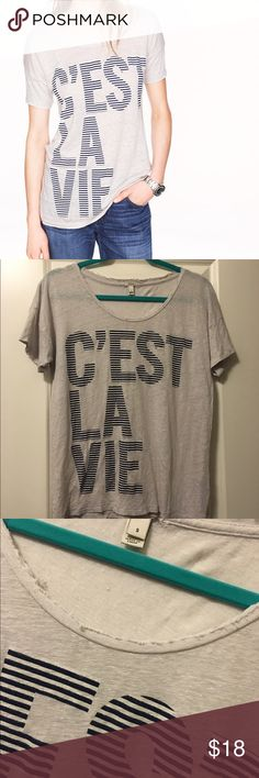 C'est La Vie Linen Tee Loose fit. Raw edges at neckline. Light gray with navy striped graphics. 100% linen. Good condition. J. Crew Tops Tees - Short Sleeve