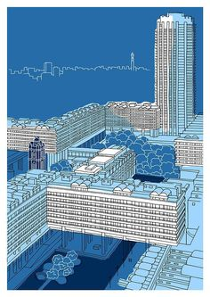Cool Brutalist Architecture and Design; Blue Barbican, London - Signed Artist's Giclee Print