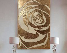 Large Abstract Painting Rose Gold Painting Textured Painting Modern Art Wall Decor Gold Leaf Resin Painting On Canvas by Julia Kotenko