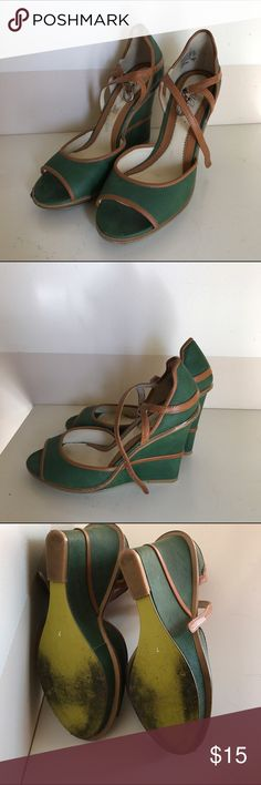 Vintage style Green Wedges Adorable wedges! Slight scuffing on the front of one shoe (pic). Shoes Wedges