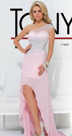 One strap chiffon gown with soft draping from the shoulder by Tony Bowls Le Gala.