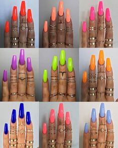 """If you're unfamiliar with nail trends and you hear the words """"coffin nails,"""" what comes to mind? It's not nails with coffins drawn on them. It's long nails with a square tip, and the look has. Summer Acrylic Nails, Best Acrylic Nails, Nails Summer Colors, Neon Nail Colors, Bright Summer Nails, Bright Acrylic Nails, Summery Nails, Nail Summer, Solid Color Nails"""