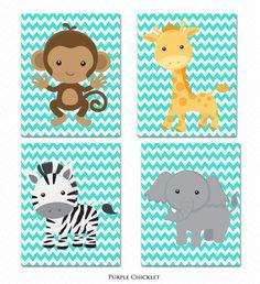 Printable Wall art Jungle Animals Set Zebra Giraffe Monkey Elephant Turquoise Chevron Nursery Room Decor Digital JPEG Files Instant Download...