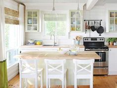 Summer Home: Brush up on paint. There is something so rewarding about taking the most grungy and dilapidated kitchen and making it gorgeous without tearing out the cabinets. #paint