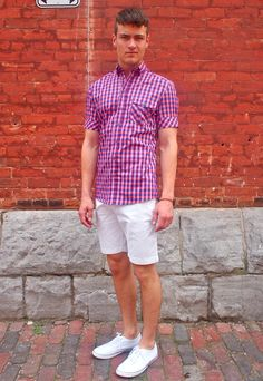 Nice summer look from GotStyle. Vito Cotton Twill Straight Cut Shorts: $68 Johnny Love SS Check Shirt: $150 Luigi Sardo Classic Canvas Low Cut Shoe: $60