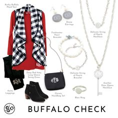 Buffalo Check, Plaid Vest, Ootd, Buffalo Plaid, Pearl Bracelet, Swing Dress, Fashion Boutique, Dog Tag Necklace, Initials