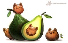 Avacato by Cryptid-Creations, Digital Painting, Cute Creature Design, Illustration, Inspirational Art Cute Animal Drawings, Kawaii Drawings, Cute Drawings, Drawing Animals, Images Kawaii, Food Drawing, Drawing Step, Kawaii Art, Cute Creatures