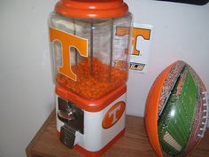 Custom Tennessee Old Gumball Machine University Of Tennessee, Gumball Machine, Tin Signs, Jars, Football, Orange, Top, Style, Products