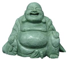 #Jade Happy Buddha Statue Asian Art Sculpture Home Decor