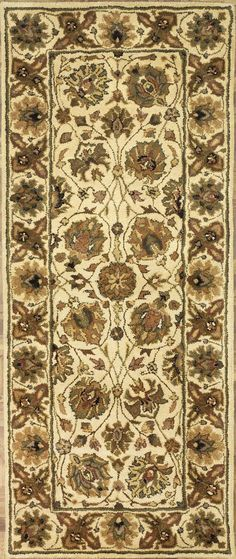 Handmade Rectangular Persian Sultanabad Runner Area Rug in Ivory, 2x8 area rugs