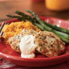 Spicy Chicken Cakes with Horseradish Aioli | MyRecipes.com