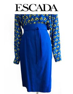 Vintage ESCADA Margaretha Ley High Waisted Belted Full Lined Skirt 38 EVC #Escada #Luxury #LuxuryVintage #LuxeCella