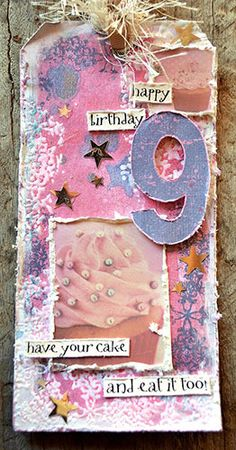 Tag by Belinda Spencer using Darkroom Door Big Numbers Rubber Stamps, Star Texture Stamp and Sweet Treats Montage and Wordstrips.
