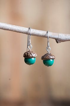 Real Acorn Earrings with Malachite and by NuttierThanASquirrel