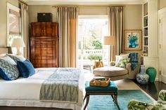 .New traditional bedroom, Peter Dunham fig fabric, blue and green