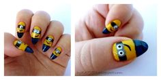 pointy nail designs 2013 | 20 Most Adorable Despicable Me Minions Nail Art Designs