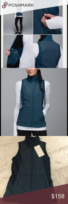 NWT Lululemon Let's Get Visible Vest Awesome multifunctional reflective vest by Lululemon in color Alberta Lake/Heathered Alberta Lake.  Fleece-backed iLUminate fabric helps you light up the night.  Lightweight Polartec Power Stretch Pro fabric panels add warmth without weighing you down.  Panel led with perforation so you can let off steam.  Secure storage for all of your essentials.  SOLD OUT ONLINE! lululemon athletica Jackets & Coats Vests