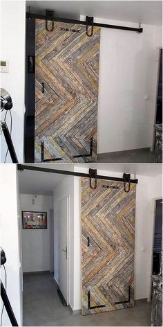 Style up your bedroom all through the use of fancy design of the wood pallet sliding door that is much easy to build up with the use of wood pallets. You just need to put the pallets alongside with one another. To avoid the boredom impact on the simple pallet sliding door design, add the pallets with some paint textured pattern designing framing.