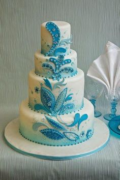 Indian Weddings Inspirations Blue Wedding Cake Repinned By Indianweddingsmag