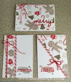 Stampin' Up! UK Demonstrator Laura Mackie: Stampin' Up! One Sheet Wonder - Candy Cane Christmas Homemade Christmas Cards, Christmas Cards To Make, Xmas Cards, Handmade Christmas, Homemade Cards, Holiday Cards, Christmas Greetings, Christmas Candy, Christmas Decor