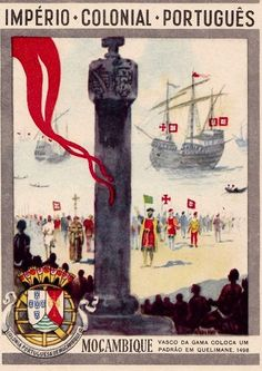 An poster sized print, approx (other products available) - Portuguese Colonial History Series - Vasco da Gama erects a column in Mozambique during his sea voyage to India Date: 1498 - Image supplied by Mary Evans Prints Online - Poster printed in the USA Fine Art Prints, Canvas Prints, Framed Prints, History Of Portugal, Old Scool, Exploration, Travel Posters, Poster Size Prints, Fine Art Paper