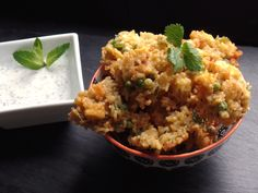 Paneer and pilau fritters - delicious Indian inspired snacking with a lemon and mint dip!