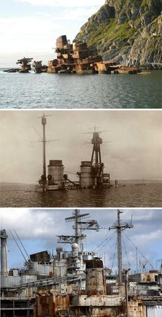 These abandoned wrecks include Soviet cruiser Murmansk, lost in 1994 and German battlecruiser Hindenburg
