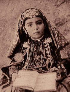 1925, A ten year old Chaldean (Assyrian Catholic) bride in her wedding dress.