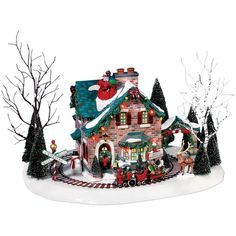 Department 56 Snow Village Santa's Wonderland House Collectible... ($175) ❤ liked on Polyvore featuring home, home decor, holiday decorations, christmas, no color, santa figure, father christmas figure, snowman figure, santa figurines and holiday home decor