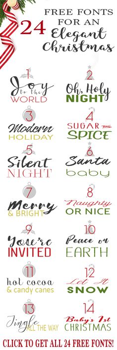 Free Fonts for Christmas Cards, Invitations, Crafts, Gifts (and even for Cricut and Silhouette Machines)!! Full commercial use for ALL of these fonts, so no legal trouble.