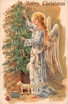 Merry Christmas white & gold angel with halo decorating tree antique pc (Y5858)