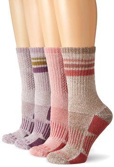 Carhartt Women's Carhartt Women's All-Season Boot Sock 4-pack, Blue Multi, Medium at Amazon Women's Clothing store: