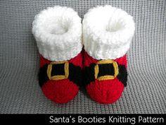 Santa's Booties ~ sizes 0-3 mos, 6 mos, 12 mos. ~ KNIT