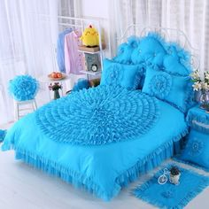 Girls Peacock Blue Rosette Pattern Waterfall Ruffle Design Feminine Feel Noble Excellence Cotton Twin, Full, Queen Size Bedding Sets in 2019 Twin Bedroom Furniture Sets, Bedroom Sets For Sale, Twin Bedroom Sets, Wood Bedroom Sets, Bedroom Decor, Gray Bedroom, Teal Bedding Sets, Queen Size Bedding, Lace Bedding