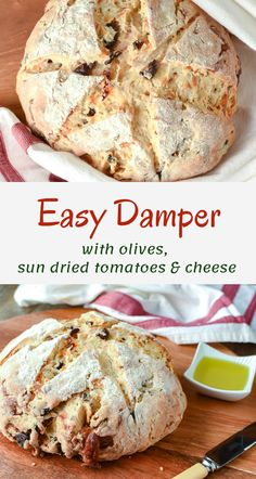 This Easy Damper with olives, sun dried tomatoes and cheese is so delicious I just can't stop eating it! Perfect with soup or predinner drinks. Gourmet Recipes, Baking Recipes, Cheese Recipes, Recipes Dinner, Pasta Recipes, Crockpot Recipes, Soup Recipes, Vegetarian Recipes, Chicken Recipes