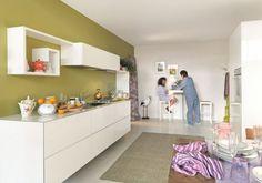 Modern kitchen design with green walls