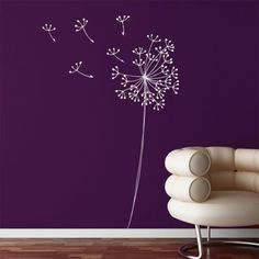 mia&co Snowdon Giant Transfer Wall Decals - Wall Sticker, Mural, & Decal Designs at Wall Sticker Outlet Purple Rooms, Purple Walls, Color Walls, Color Uva, Dandelion Wall Decal, White Dandelion, Dandelion Flower, Home And Deco, My New Room