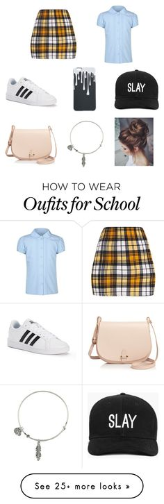 """""""School Girl Outfit"""" by emmyizqxeen on Polyvore featuring George, adidas, Boohoo, Céline Lefébure and Alex and Ani"""